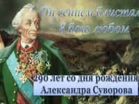 Мероприятия, посвященные празднованию  290-летия со дня рождения А.Суворова